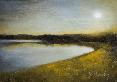A small landscape oil painting of a lake at dusk by portrait artist Joshua Granberg.